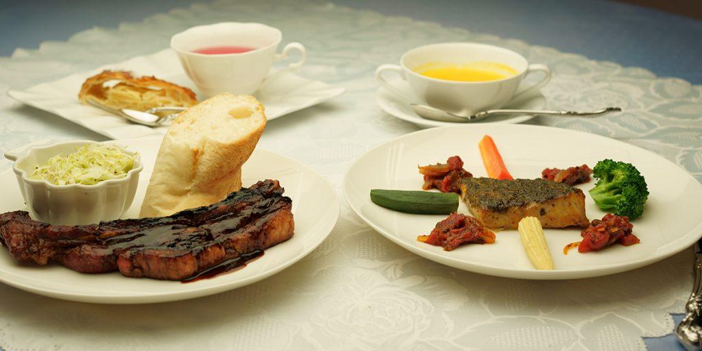 下呂温泉のレストラン ランチコース 本日のお魚とスペアリブがついたお得なコース